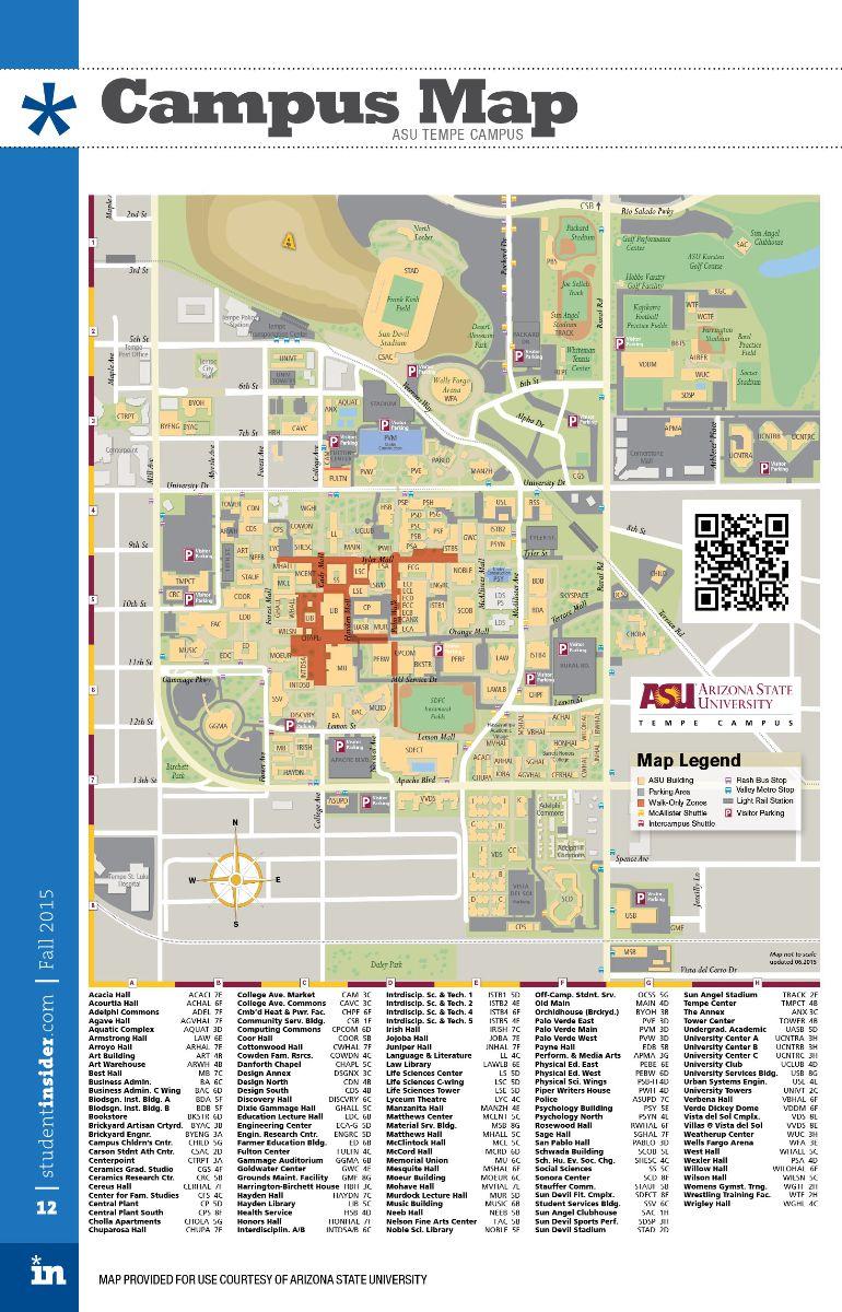 asu map tempe campus Map Of Arizona State University Map Of The Asia asu map tempe campus